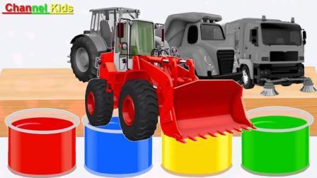 早教益智启蒙色彩英文: 铲除拖拉机自卸车玩具洗澡变颜色了