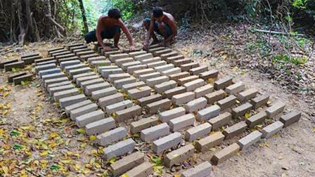 原始烤砖术: 隐居三小伙, 徒手打造墙砖, 这技术澳洲小哥能比吗?