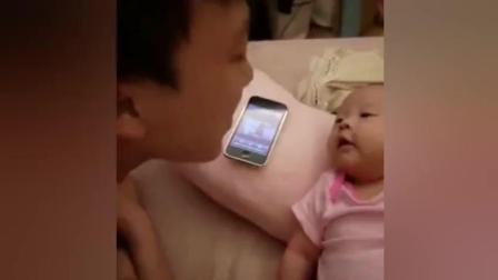 老爸正在哄小宝宝, 突然一个音乐响起, 宝宝画风变了!