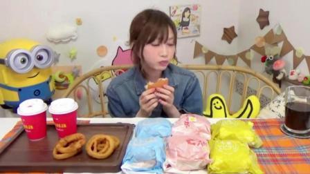 日本大胃王木下挑战吃日式和中式虾虾堡, 炸洋葱圈和草莓雪糕