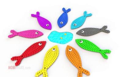 色彩启蒙动画: 彩色小球组成五颜六色的小鱼