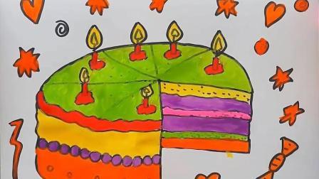 简笔画教学画生日蛋糕