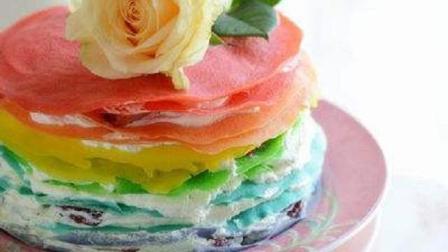 不用烤箱就能做的彩虹千层蛋糕, 好看又美味