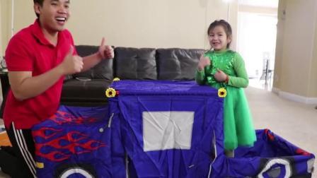 早教益智亲子游戏: 珍妮和爸爸组装皮卡车