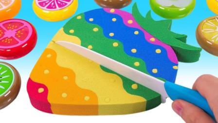 6种口味的的彩虹草莓蛋糕? 太空沙创意新玩法视频教程送给你