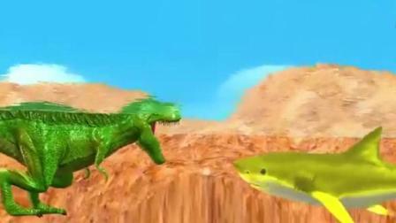 恐龙总动员之恐龙对战鲨鱼玩具动画视频56