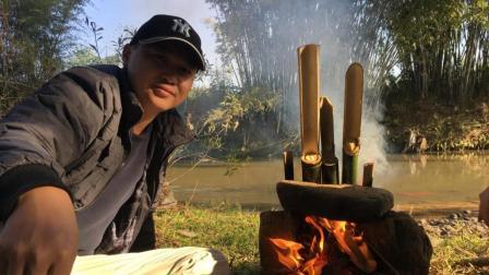 这个才是真正的竹筒饭, 小六说竹块都想吃了, 太香了
