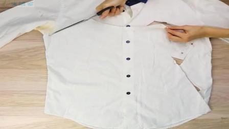 旧衬衣剪一刀, 改造成小女孩穿的裙子, 漂亮又环保, 够聪明