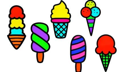 幼儿早教简笔画, 简单易学的缤纷冰淇淋简笔画教程, 超简单