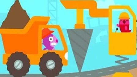 挖掘机工程车表演视频 驾驶卡车建设蛋糕房