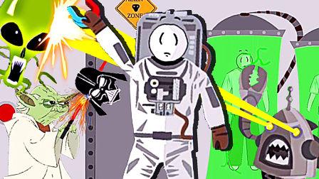 【屌德斯解说】 火柴人逃离外太空 火柴人变身星球大战中的黑武士被尤达大师秒杀!