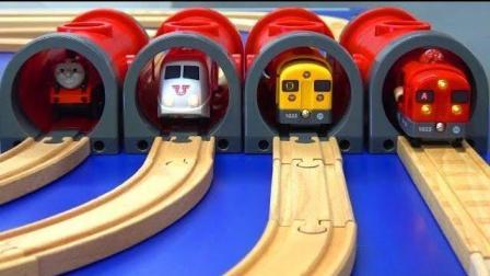 小汽车行驶在高架桥轨道玩具上