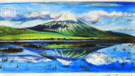 【艺达】彩铅手绘风景视频教程-风景雪山的表现