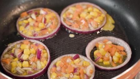 只要五分钟, 无需模具也能做出来的创意美食早餐, 洋葱圈蛋饼