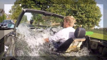国外小伙把宝马灌满水后飙车, 踩下刹车他后悔了!