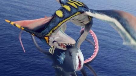 5分钟看《八爪狂鲨大战梭鱼翼龙》, 两个变种怪物大战300回合