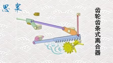 NO.55 机械原理动画-齿轮齿条式离合器1