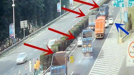 高速上女司机违停命悬一线, 连续6辆重卡刹车踩到冒烟只为救她!