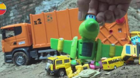 垃圾车过河找到帮帮龙和汽车挖掘机, 婴幼儿宝宝玩具游戏视频