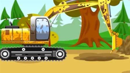 挖掘机尼诺去森立挖坑买自己的奇趣蛋那 幼儿教育汽车卡通