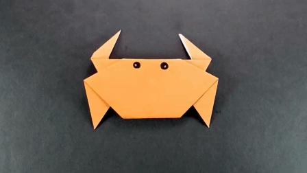 儿童手工动物折纸DIY, 用一张正方形纸折一只螃蟹给孩子玩