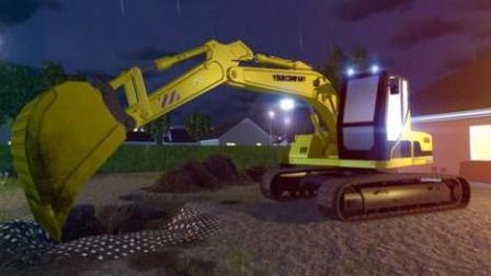 挖掘机挖掘机工作表演视频 挖掘机动画视频儿