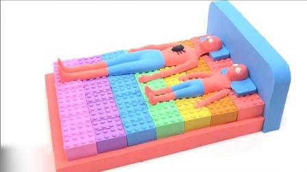 太空沙手工双人床人偶造型创意十足 学颜色