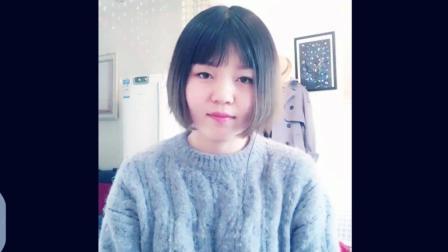 短发女生翻唱刘刚的怀念青春, 留下的脚印拼成一幅画