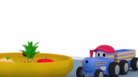 幼儿教育卡通 托马斯小火车泰德在水果山寻找水果制作沙拉 恐龙戴诺迪娜乘坐旋转木马