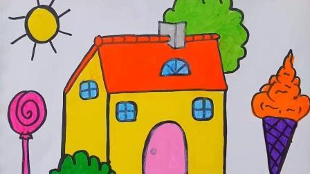 用蜡笔画小房子棒棒糖和冰激凌