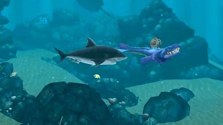 饥饿鲨进化: 进化后的残血艾伦鲨遇到巨齿鲨, 结果会怎样?