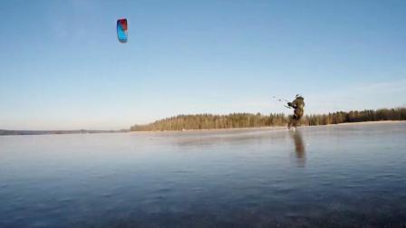 风筝冲浪小伙冰封湖面滑冰 自由驰骋令人心醉神迷