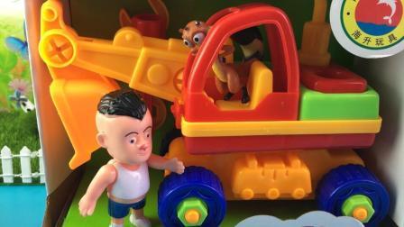 百变小猪佩奇玩具 熊出没玩具拆箱光头强组装工程车