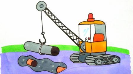 宝宝爱画画第107课 吊车起重机的简单画法, 吊车绘画视频演示, 吊车简笔画画法上色步骤