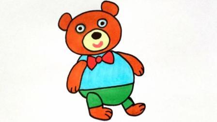 宝宝爱画画第109课 玩具小熊玩偶如何画, 小熊玩偶图片简笔画教程, 儿童动物小熊怎么画