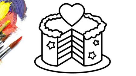 亲子益智简笔画: 给宝宝画彩虹生日蛋糕, 听abc儿歌