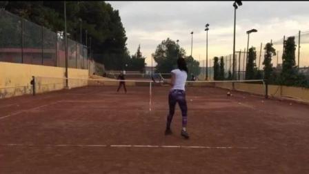 海特网球教学-双人网前对底线对抗训练