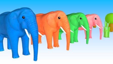 儿童学英语视频  形状大象颜色球马 卡通童谣 颜色牛形状大象动物卡通童谣火车母牛