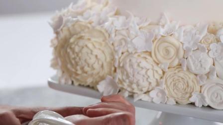 女生都超喜欢的~浪漫白巧克力玫瑰结婚蛋糕制作过程