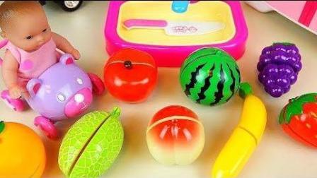 0360 - 婴儿娃娃和水果厨房玩具冰箱娃娃娃玩