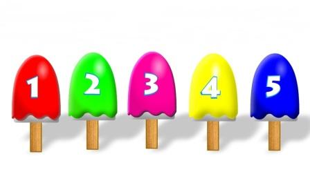 用彩色冰激凌学颜色和数字