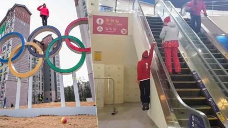 平昌冬奥惊现快手青年 爬到奥运LOGO上拍照