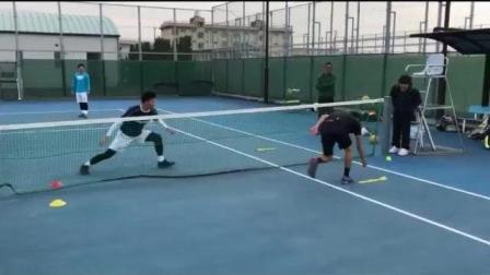 海特网球教学-网前抛接球移动比赛