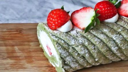 简单易上手, 抹茶草莓蛋糕卷的做法, 抹茶与草莓的完美搭配!