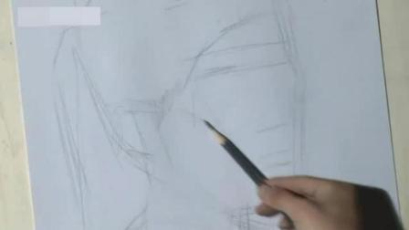 零基础素描自学画线条 玫瑰花彩色铅笔画教程 简单素描