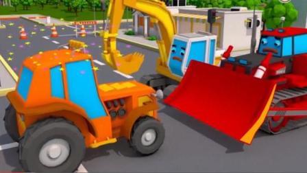 儿童挖掘机视频表演 迷你挖掘机起重机推土机组装口香糖车和给小汽车洗车