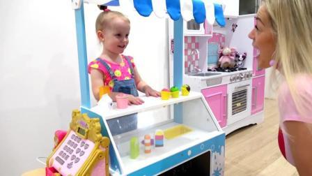 加比和亚历克斯假装玩冰淇淋食品玩具车来学习颜色