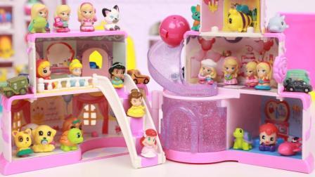 趣盒子玩具 第一季 小可爱扭蛋迪士尼公主的蛋糕城堡 squinkies展示架
