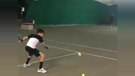 海特网球教学中场正手快速多球训练
