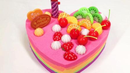 月采大头儿子小头爸爸玩具 太空沙彩砂制作彩虹水果蛋糕